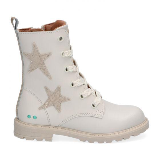 Beige biker boots met sterren