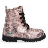 Roze biker boots met glitters en panterprint voor meisjes