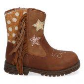 Bruine, leren cowboy boots met franjes